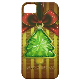 Merry Christmas Green Diamond Tree iPhone 5 Case