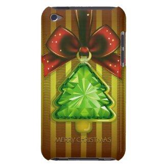 Merry Christmas Green Diamond Tree iPod Touch Case