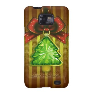 Merry Christmas Green Diamond Tree Samsung S2 Samsung Galaxy SII Covers