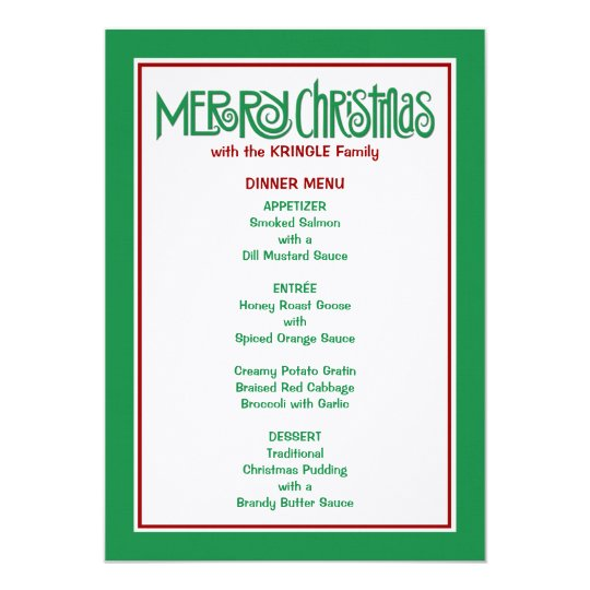 Merry Christmas green Dinner Menu Card
