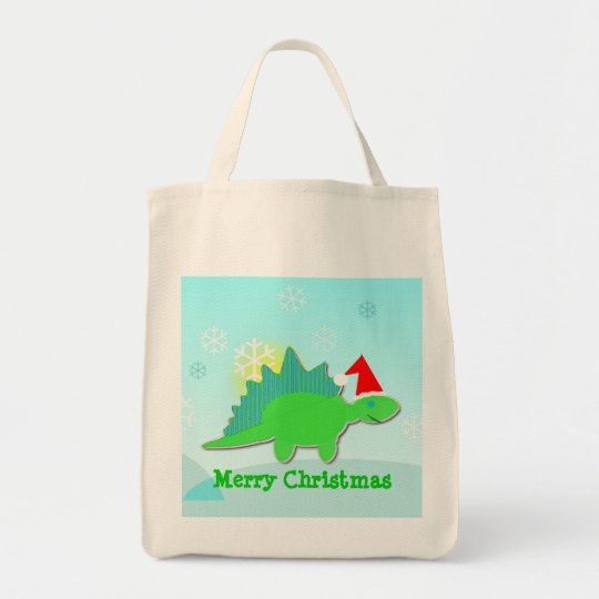 Merry Christmas Green Dinosaur Dino Bag/ Tote