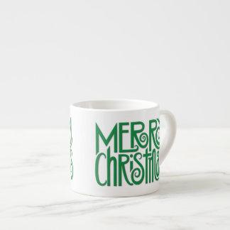 Merry Christmas green Espresso Mug