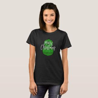 Merry Christmas Green Glitter Retro Ornament T-Shirt