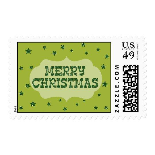 Merry Christmas green glitter stars card Postage