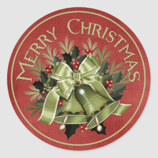 Merry Christmas Green Holiday Bells Stickers