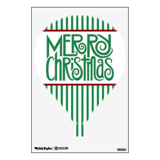 Merry Christmas green Hot Air Balloon Wall Decal