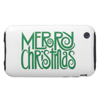 Merry Christmas green iPhone 3G 3GS Tough Case Tough iPhone 3 Cases