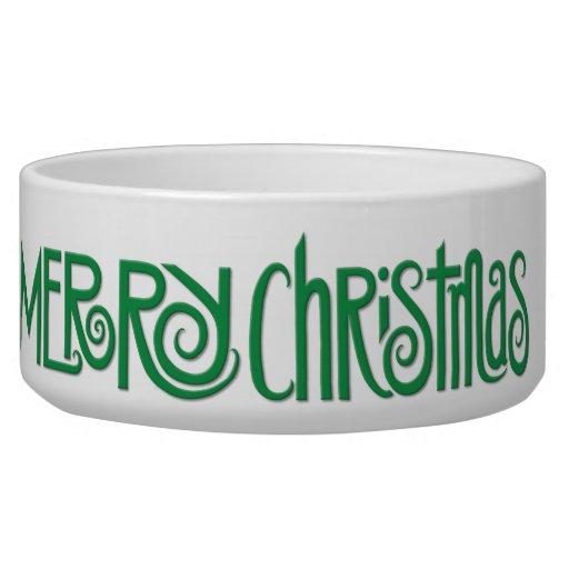 Merry Christmas green Large Pet Bowl