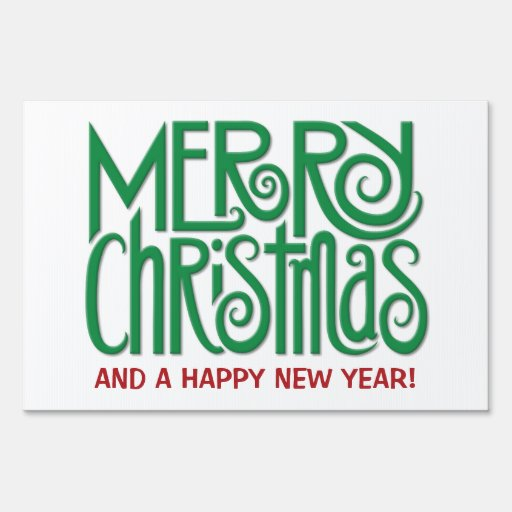 Merry christmas green large yard sign zazzle for Large outdoor christmas signs