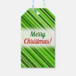 "[ Thumbnail: ""Merry Christmas!"" + Green Lines/Stripes Pattern Gift Tags ]"