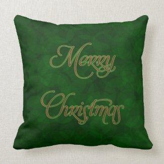 Merry Christmas Green MoJo Throw Pillow