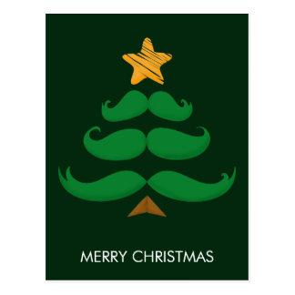 Merry Christmas - Green Mustache Tree Postcard