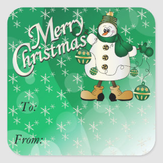 Merry Christmas Green Ornament Snowman Square Sticker