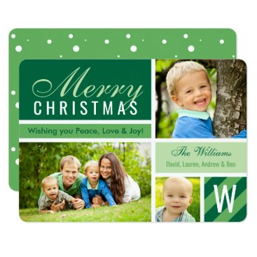 Christmas Themed Merry Christmas | Green Photo Card Collage