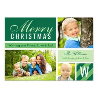 Merry Christmas | Green Photo Card Collage