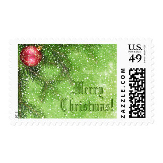 Merry Christmas Green Postage Stamp