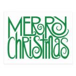 Merry Christmas green Postcard