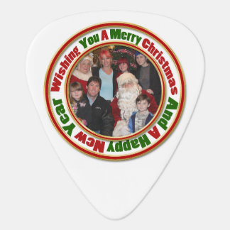 Merry Christmas Green Red Gold Circle Add Photo Guitar Pick