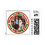 Merry Christmas Green Red Gold Circle Add Photo Stamp