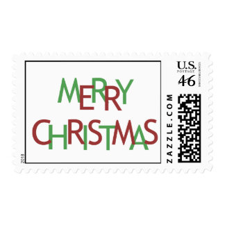 MERRY CHRISTMAS GREEN RED POSTAGE STAMP
