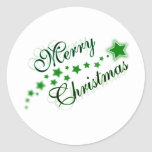 MERRY CHRISTMAS GREEN ROUND STICKER