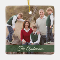 Merry Christmas Green Rustic Wood Family Photo Ceramic Ornament