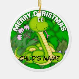 Merry Christmas Green Snake Ceramic Ornament