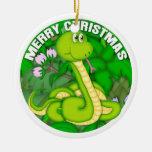 Merry Christmas Green Snake Christmas Ornament