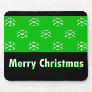 Merry Christmas Green Snow Flake Mouse Pads