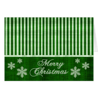 Merry Christmas Green Snowflakes Holiday Card