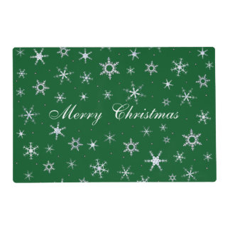 Merry Christmas Green Snowflakes Placemat