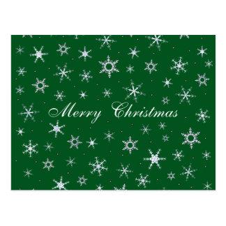 Merry Christmas Green Snowflakes Postcard