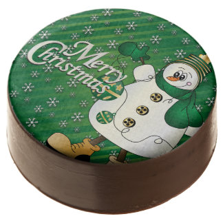 Merry Christmas Green Snowman Chocolate Dipped Oreo