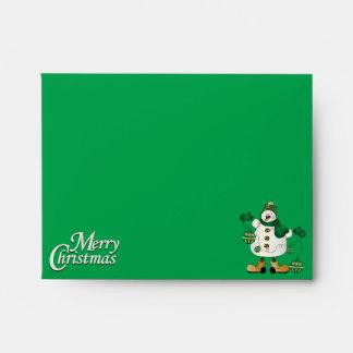Merry Christmas Green Snowman Envelope