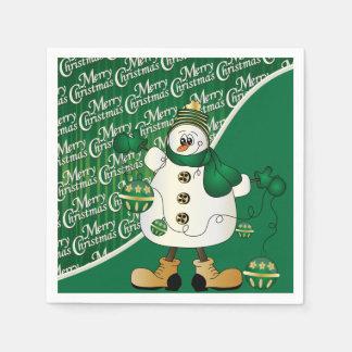 Merry Christmas Green Snowman Standard Cocktail Napkin