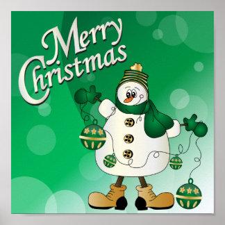 Merry Christmas Green Snowman Poster