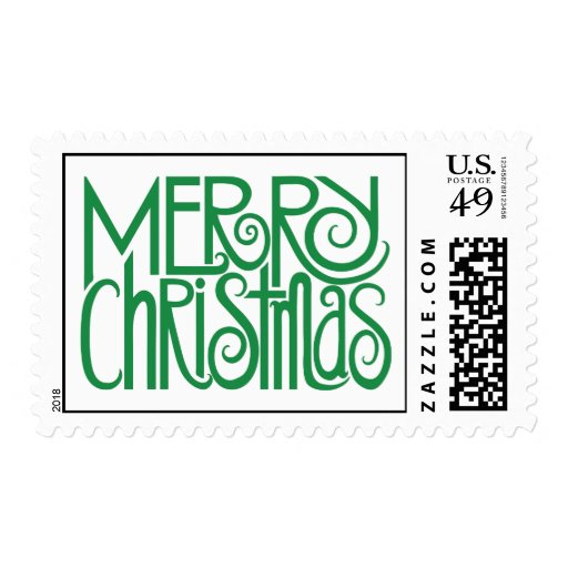 Merry Christmas green Stamp
