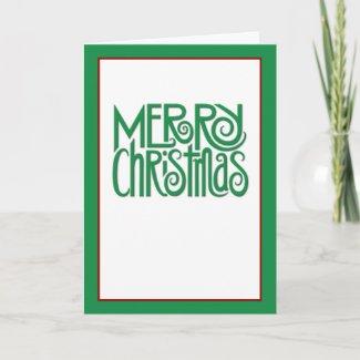 Merry Christmas green text Card card