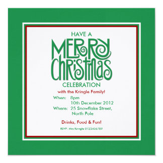 Merry Christmas green Theme Party Invitation