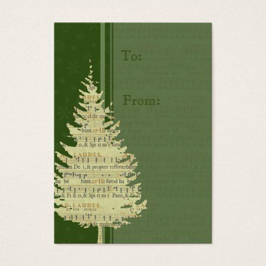 Merry Christmas Green Tree Gift Tags