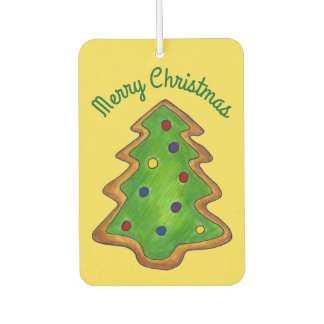 Merry Christmas Green Tree Sugar Cookie Holiday Car Air Freshener