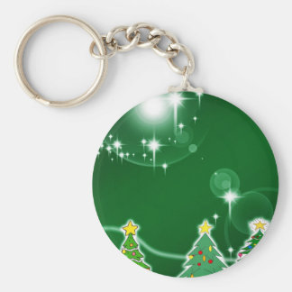 Merry Christmas Green Tress Ice Fall Holidays Gree Basic Round Button Keychain