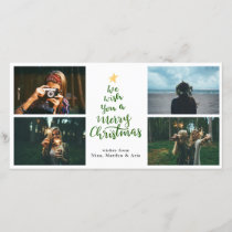 Merry Christmas Green Typography Four Photo Holiday Card