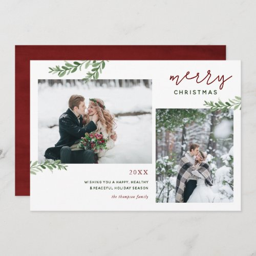 Merry Christmas   Greenery Branches 2 Photo Holiday Card