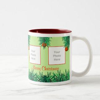 Merry Christmas Greens on Green 4-Photo Frame Mug