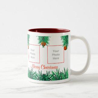 Merry Christmas Greens on White 4-Photo Frame Coffee Mug