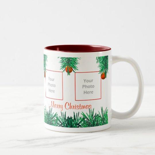 Merry Christmas Greens on White 4-Photo Frame Two-Tone Coffee Mug