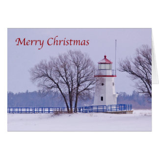 Merry Christmas Greeting Card Cheboygan Lighthouse