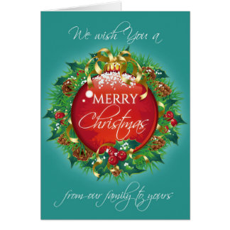 Merry Christmas greeting card Teal wreath