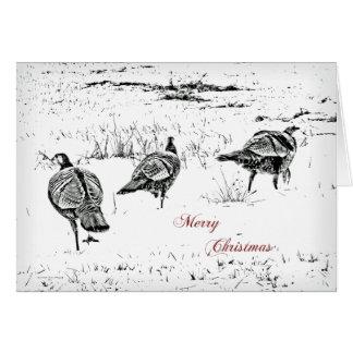 Merry Christmas Greeting Card  Wild Turkeys in B&W